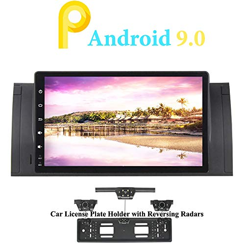 XISEDO 9' Android 9.0 Car Stereo In-Dash Head Unit Quad Core Sat Nav Car GPS Navigation for BMW 5-E39/BMW X5-E53 (with UK/EU License Plate Frame)