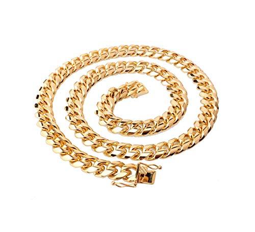 KnBoB Herren Kette Halskette Gold Zügel Kette Herren Gold Kette Halskette Länge 51CM