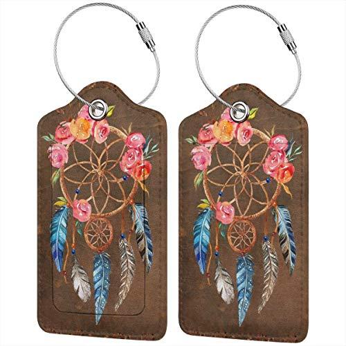 Atrapasueños Colorido Floral Personalizado Cuero De Lujo De La Etiqueta De La Maleta Del Juego De Accesorios De