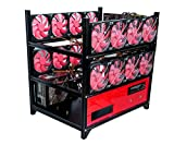 12 GPU Open Air Frame Mining Miner Rig Case for ETH BTC LTC Crypto Coin + 16 Fan