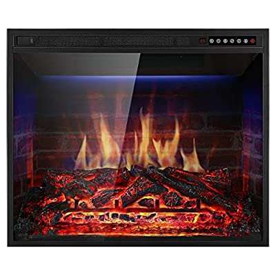 Xbeauty Electric Fireplace Insert Recessed in Wall Freestanding Heater w/Large Screen Multicolor Flames,Remote Control,750w/1500w,Black