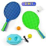 Fajiabao Raquette Badminton Raquette de Tennis Balles de Ping Pong 3 en 1 Badmington Kit Raquette Tennis Enfant Jeux Exterieur Enfant Jouet de Plage Cadeaux pour Enfant Fille Garçon 3 4 5 6 Ans