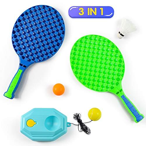 Fajiabao Racchetta Tennis Bambino Badminton Racchette Set Racchette Volano 3 in 1 Giocattolo per Bambini Racchettoni da Spiaggia Gioco di Sport All'aperto Regalo per Ragazzo Ragazza 3 4 5 6 Anni