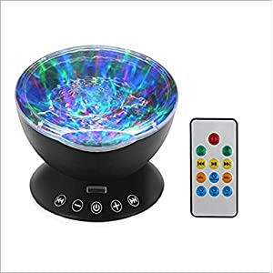 LED Projection Light,Remote Control Ocean Wave Projector Night Lamp with Music Player for Baby Children Nursery Adults Kids Party Christmas Gift