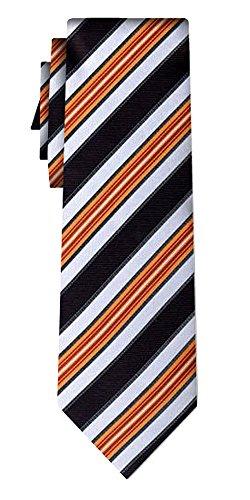 Cravate rayée block stripe orange silver black