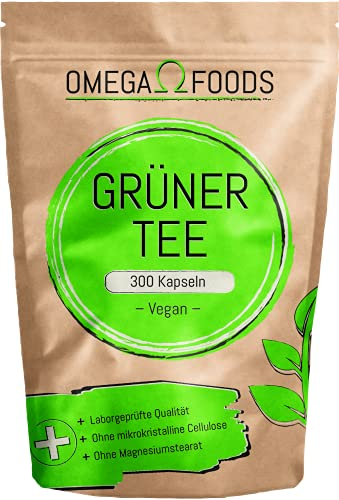 Grüner Tee Kapseln - 300 Kapseln 1.000mg pro Tagesdosierung - Qualität Der Grüner Tee Kapseln In Deutschland Geprüft - Grüner Tee Extrakt - Grüntee Extrakt