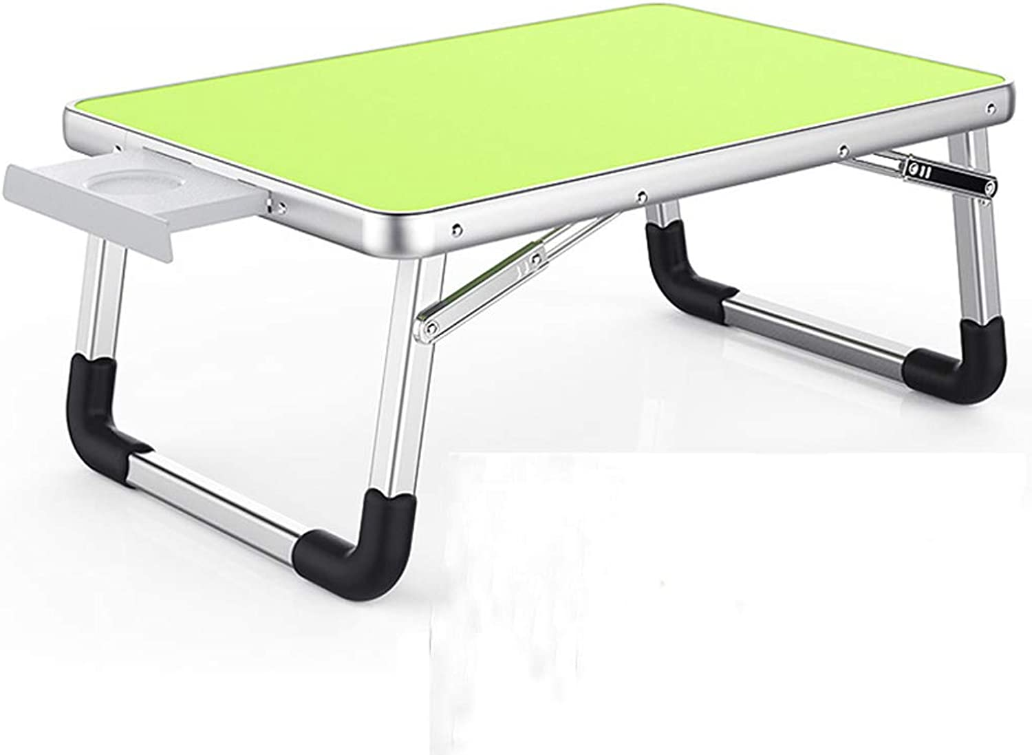 Djyyh Laptop Desk, Aluminum Desk, Folding Table, Small Table Rounded Arc, with Non-Slip Cup Slot