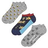 soxo Herren Bunte Sneaker Socken | Größe 40-45 | 3er Pack | Baumwolle Herrensocken mit Lustigen Motiven | Perfekt für Flache Schuhe | Tolle Ergänzung für Ihre Garderobe | Bier/Pizza/Bulldog