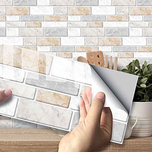 Hiser Adhesivos Decorativos para Azulejos Pegatinas para Baldosas del Baño/Cocina Estilo de mármol de imitación clásico 3D Resistente al Agua Pegatina de Pared (Mármol cálido,54 Piezas)