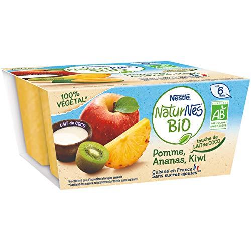 NESTLÉ Naturnes BIO - Purée de Fruits Bébé - Pomme Ananas Kiwi Lait de Coco - Dès 6 mois - 4x 90g
