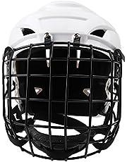 T TOOYFUL Robuuste sterke ijshockeyhelm voor volwassenen, met gezichtsmasker, van staal, verstelbaar.