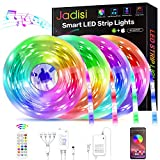 Led Strip Lights, Jadisi 65.6ft Music Sync RGB Lights Strip, SMD5050 Color Changing with Bluetooth Controller + 24 Key Remote Control LED Lights for Bedroom, Bar, Party, Home Decoration(4X16.4ft)