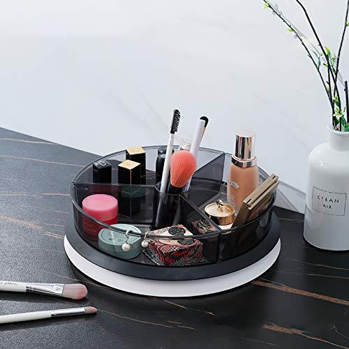 Qisiewell Küchen-Organizer Großer Drehteller 1/2 Ebenen Mit Behälter BPA-freier Kunststoff Drehbarer Gewürzhalter für Vorratsdosen Gewürze im Vorratsschrank 28,5cm (Grau, 1 Ebene)