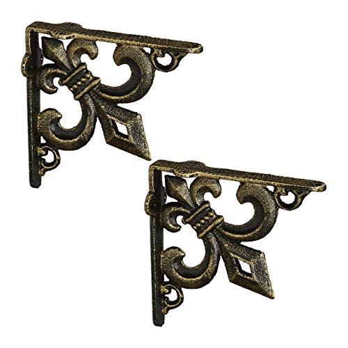 Relaxdays Regalwinkel antik, 2er Set, Regalträger Gusseisen, Lilien Ornament, Vintage Wandwinkel für Regalboden, Bronze