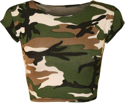 WearAll - Damen Bedruckt Flügelärmel Kurz Top - Camouflage - 36-38