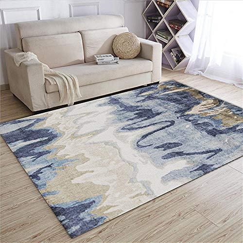 WQ-BBB Tapetes para Mesa Decoración de la casa Diseño de Arte Abstracto Azul Gris marrón Blanco alfombras pie de Cama 140X200cm