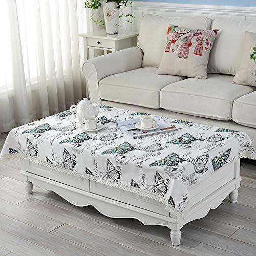 YCZZ Landelijk tafelkleed van katoenen linnen, rechthoekig huishoudtafelkleed, groot koffietafelkleed van vlinder tafelkleed