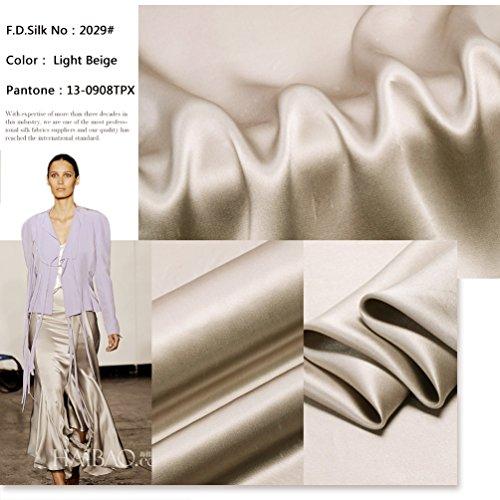 100% 16mm Light Beige Silk Charmeuse Fabric by The Yard, 48 Colors, Light Beige SZD1629, F.D.SILK