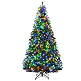 Goplus 8FT Pre-Lit Artificial Christmas Tree Auto-Spread/Close up Branches 11 Flash Modes