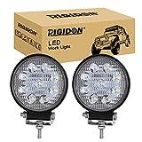 RIGIDON 2 Pcs Faro de trabajo redondos, 4 pulgadas 27W, Spot lámpara trabajo led para off road camión coche ATV SUV 4x4 Tractor, Faros trabajo led 12v 24v Spotlights faros antiniebla,6000K Blanco