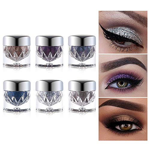 6pcs UCANBE Twinkle Dust Silver Eyeshadow Set Highlighter Palette Duochrome