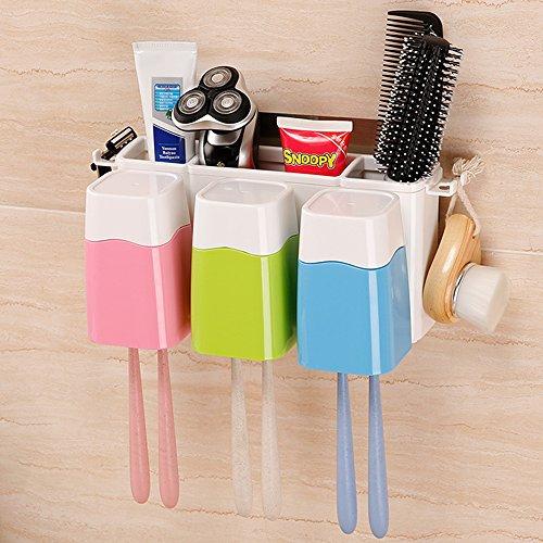 Vivisky Minions-Zahnpastaspender und -Zahnbürstenhalter-Set mit automatischem Zahnpasta-Ausdrücker mehrfarbig