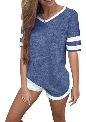 Ehpow Damen Kurzarm T-Shirt V-Ausschnitt Casual Sommer Lose Shirt Oversize Oberteile (Large, Blau)