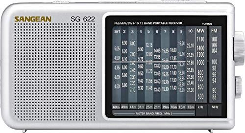 Sangean SG-622 tragbares Weltempfänger, kurzwellenempfänger - Grau/Silber