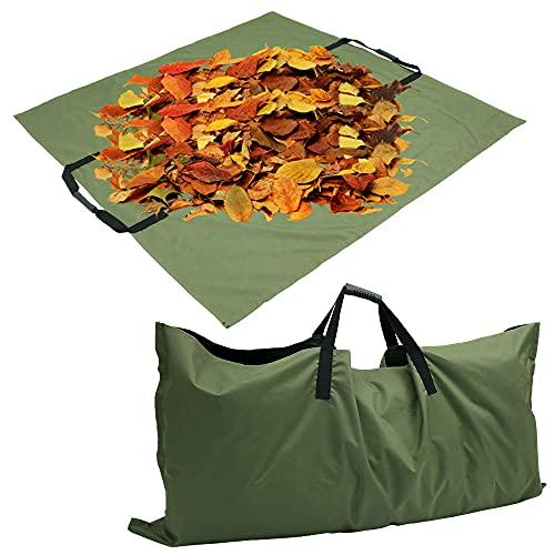 N/S 2 in 1 Gartenabfallsack - Laubsack aus robustem 600D Oxford-Tuch - 144 * 144 cm schwerlast Gartensack - zusammenfaltbar - Im geöffneten Zustand als Gartenmatte verwendbar (Grün)
