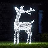 Lights4fun Cervo Luminoso Extra Large con 400 LED Bianchi in Resina Acrilica per Uso in Esterni