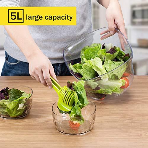 Focovida Salatschleuder 5L mit Deckel und Nudelzange, Design Patent Großer Salattrockner inkl. Salatschüssel zum Servieren & Ablaufsieb für Wasser aus Kunststoff, Hohe Effizienz, Transparent - 3