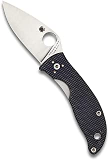Spyderco Alcyone Folding Knife - Gray G-10 Handle with PlainEdge, Full-Flat Grind, CTS BD1 Steel Blade and LinerLock - C222GPGY