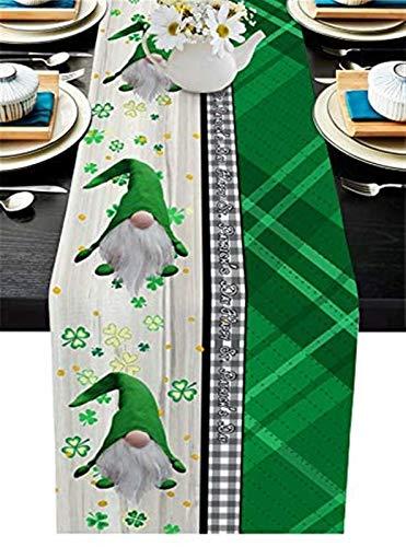 VJRQM Chemin de Table de Pâques 13 X 70in,Happy St. Patrick's Day GNOME Shamrock Vintage Vert Noir Plaid Rectangle Toile de Jute Commode Foulards