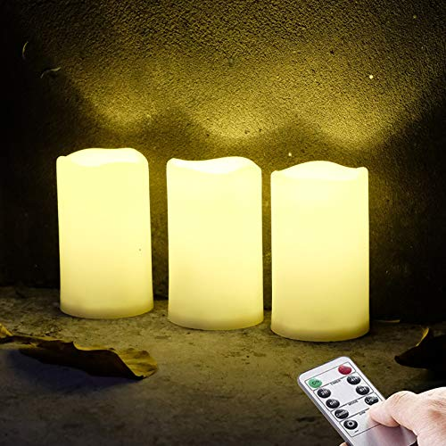 3 Pack Outdoor Waterproof Flameless Candles, Warm White LED Rainproof Pillar Battery Candle with Remote Control/Timer, 3 X 5''