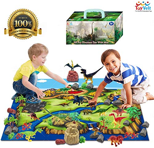 ToyVelt Dinosaur Play Set Dinosaur Toys Includes Dinosaur Figures, Trees, Rocks, PlayMat, And A Beautiful Container Create a Dino World Great Gift for Boys & Girls Ages 3,4,5,6, and Up UPDATED VERSION