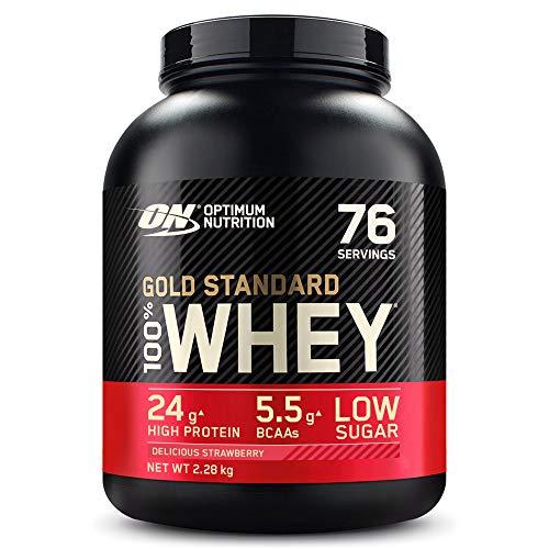 Optimum Nutrition Gold Standard 100% Whey Proteína en Polvo, Glutamina y Aminoácidos Naturales, BCAA, Fresa Deliciosa, 76 Porciones, 2.28kg, Embalaje Puede Variar