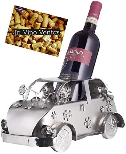 Brubaker Weinflaschenhalter Vintage Auto Flower-Power - Kult Oldtimer - Flaschenständer aus Metall - mit Grußkarte für Weingeschenk