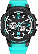 EYotto Women' Sport Wrist Watch, Analog&Digital Dual Display Backlight Watch for Women with Alarm,Calendar, Seconds, Luminous Pointers (Turquoise)