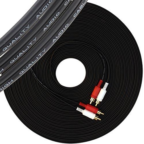20 m lungo nero Cavo RCA da 2 Maschi a 2 Maschi, Audio Stereo 2 rosso e bianco maschio fono Connettori Placcati in Oro per CD, DVD, Home Theater, TV, Altoparlanti, Amplificatori, Xbox360, ecc 20 Metri