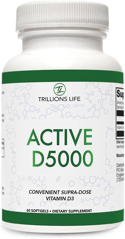 Memphis Store Mall Trillions Life Vitamin D3 5000 IU Booster - Softgels Immune Moo