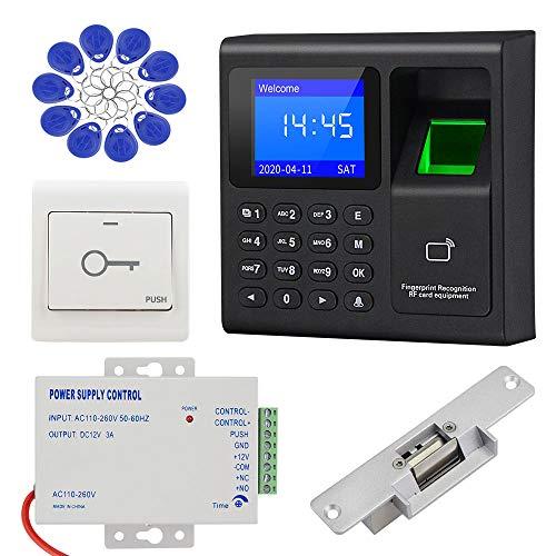 KDL Sistema completo de control de acceso RFID Teclado controlador de huellas dactilares, fuente de alimentación DC12V / 3A, cerradura eléctrica tipo NO con interruptor de puerta, llaveros de 125KHz