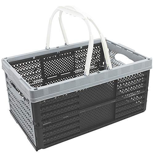 COM-FOUR® Klappbox mit Henkeln 16l - Transportbox mit Griffen - Stabile Aufbewahrungsbox - Einkaufskorb zusammenklappbar - 20 x 40 x 27 cm (01 Stück - hellgrau)