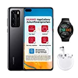 HUAWEI P40 Dual-SIM Smartphone Bundle (15,5 cm (6.1 Zoll), 128 GB interner Speicher, Android 10.0 AOSP) Midnight Black + 5 EUR Amazon Gutschein + Watch GT 2e, Graphite Black + FreeBuds 3, Weiß