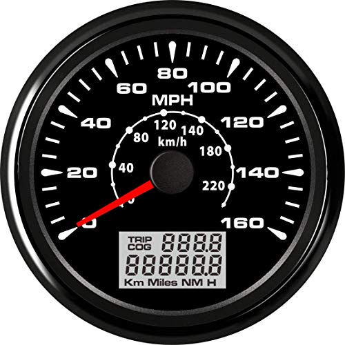 ELING Universal GPS Speedometer Gauge 160MPH 220KM/H Trip Counter Odometer for Car Racing Motorcycle 85mm 12V 24V