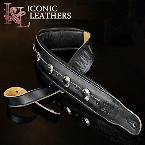 "Iconic Leathers 3.25"" Extra Wide Black Leather Conchos Dual Padded Guitar and Bass Strap IL-5ConBlk"