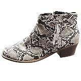 Berimaterry Botines Mujer Tacon conestampado de loepardo Moda Zapatos Mujer Invierno Casual Botin para Mujer con Tacon Cremallera Elegantes Zapatos Invierno Mujer tacónes Mujer Cuadrado Tobillo Botas