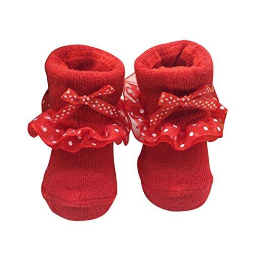 Baby Socken, FNKDOR Neugeborene Mädchen Baumwolle Söckchen Bowknots (0-6 Monate, Rot)