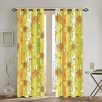 遮光カーテン,縞模様の背景にオレンジと黄色の水仙または水仙の花の輪郭を描く,断熱,おしゃれ 寝室 リビング用 カーテンセット 昼夜目隠し,2枚組 130X210cm
