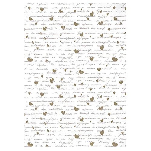 ARKRAFT carta da regalo 3 fogli 100x 70 cm con i cuori oro (18-8995)