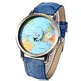 Reloj de pulsera, de la marca Leopard Shop, con diseño de mapa del mundo y correa...